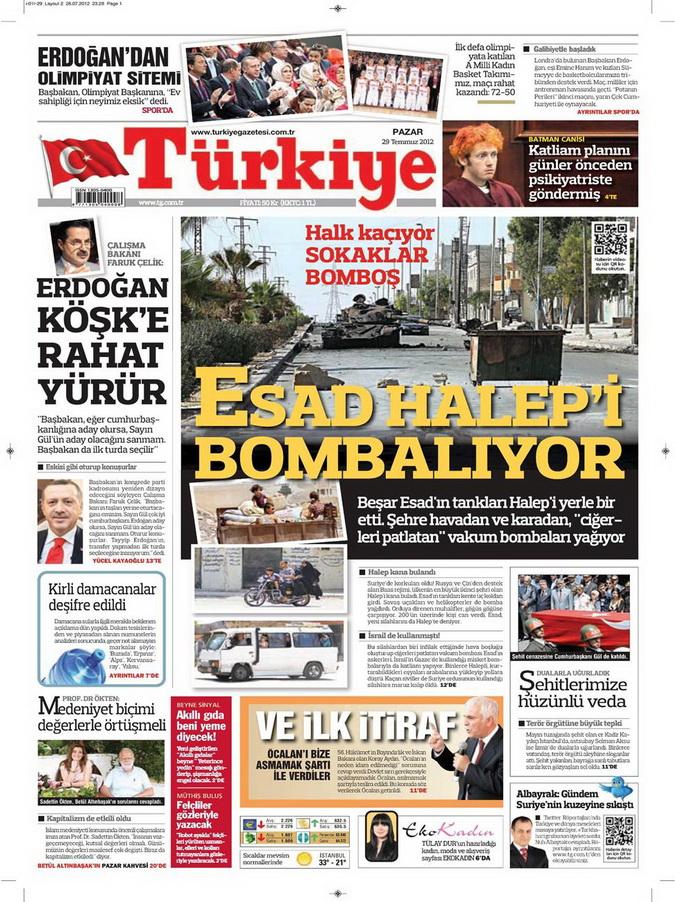Gazete Manşetleri - 29 Temmuz 2012 19