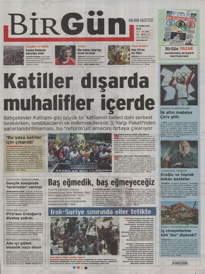 Gazete Manşetleri - 29 Temmuz 2012 2
