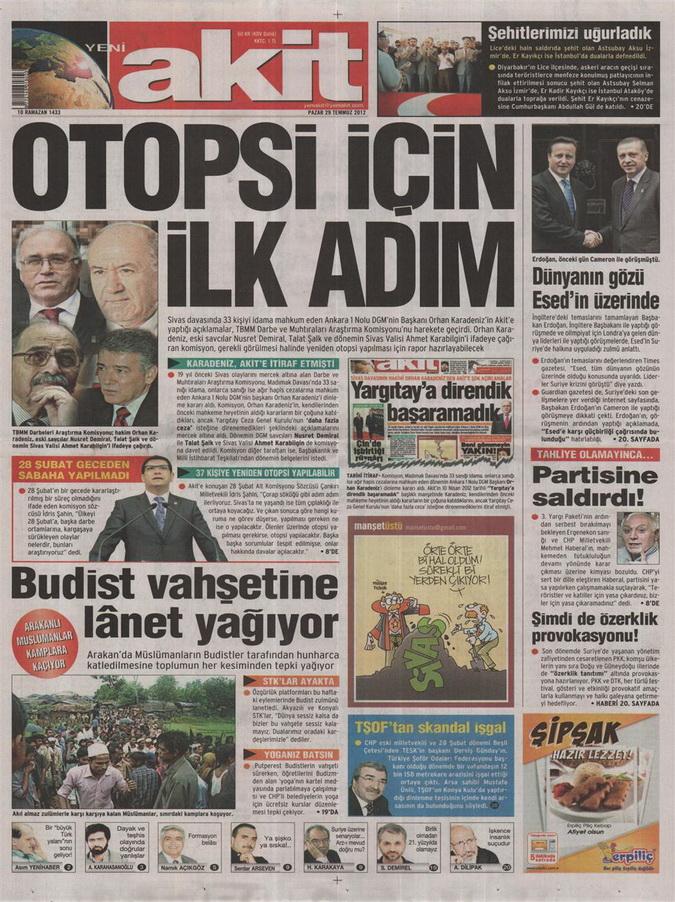 Gazete Manşetleri - 29 Temmuz 2012 22