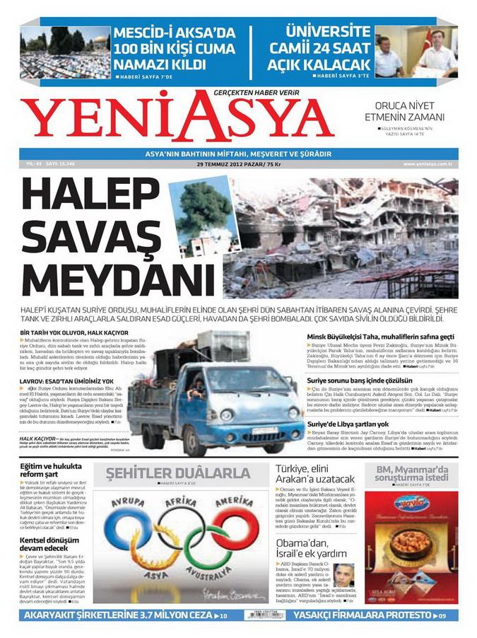 Gazete Manşetleri - 29 Temmuz 2012 23