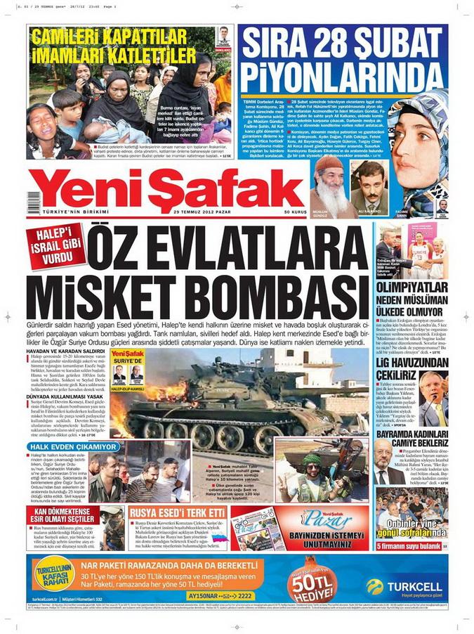 Gazete Manşetleri - 29 Temmuz 2012 24
