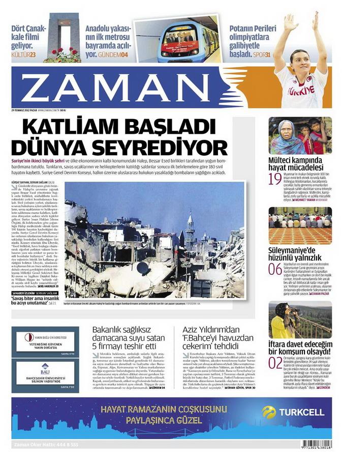Gazete Manşetleri - 29 Temmuz 2012 25
