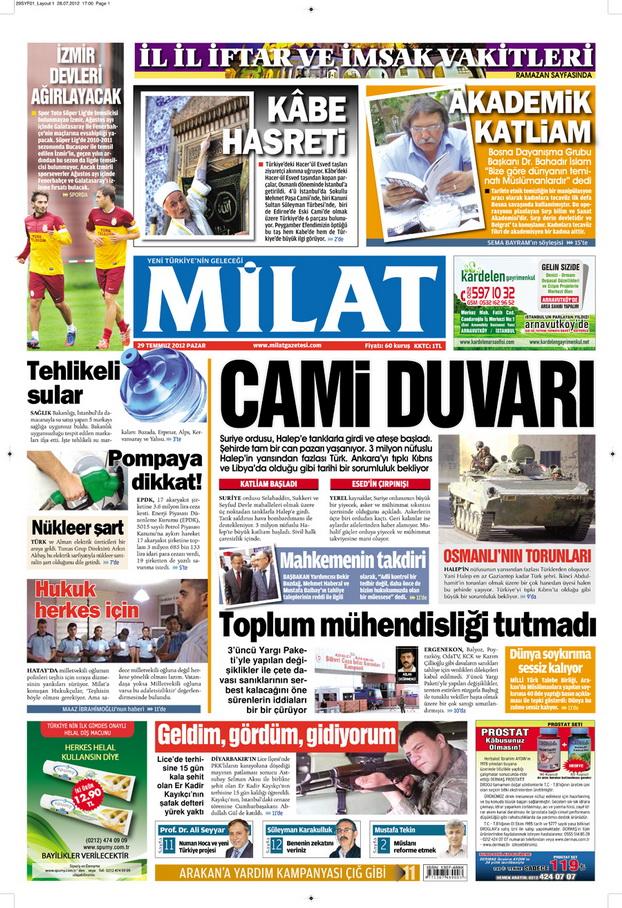 Gazete Manşetleri - 29 Temmuz 2012 8