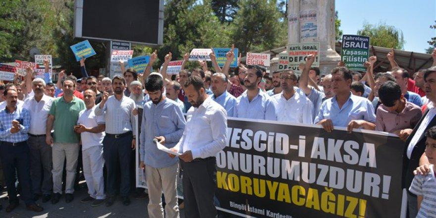 İşgalci İsrail'in Mescid-i Aksa'ya Yönelik Zulümleri Bingöl'de Tel'in Edildi