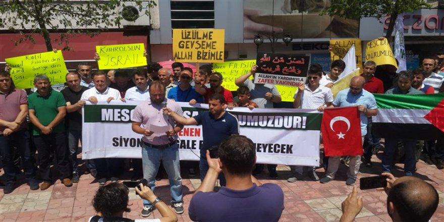 İşgalci İsrail'in Mescid-i Aksa'ya Yönelik Zulümleri Ereğli'de Tel'in Edildi