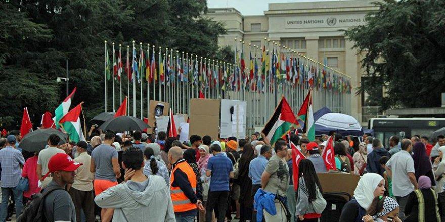BM Cenevre Ofisi Önünde Mescid-i Aksa Protestosu