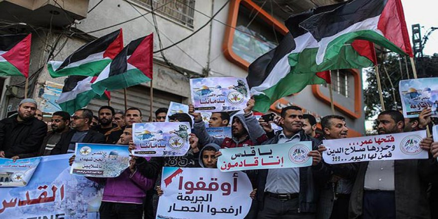 Gazze'de 'ABD'nin Kudüs Kararı' Protesto Edildi