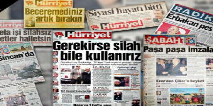 28 Şubat Darbesinin Aktörü Medyanın Manşetleri