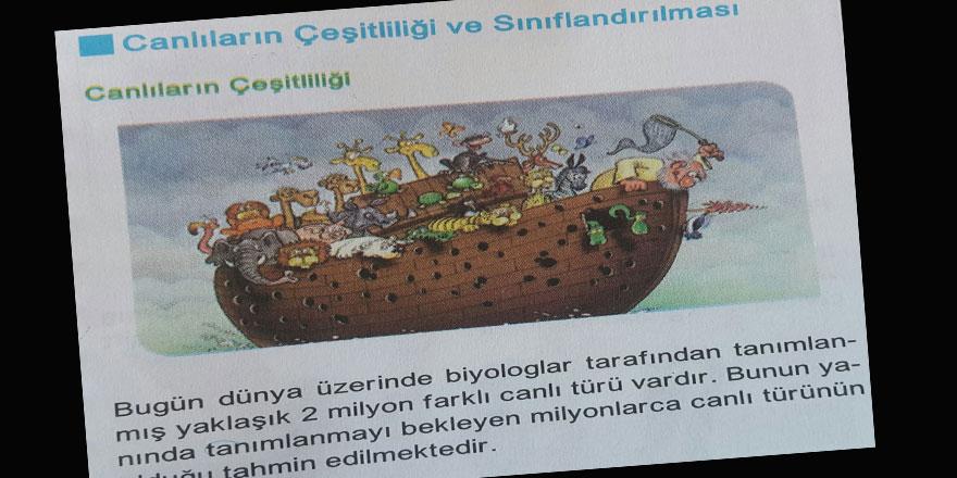 """Bu Hakaretamiz """"Nuh'un Gemisi"""" Karikatürünün Biyoloji Ders Kitabında Ne İşi Var?"""