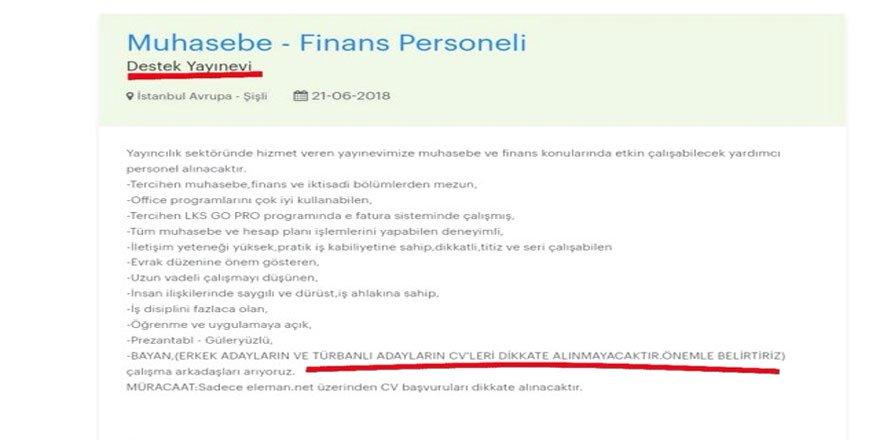 """Destek Yayınları'ndan Tepki Çeken """"Başörtüsü"""" İlanı"""