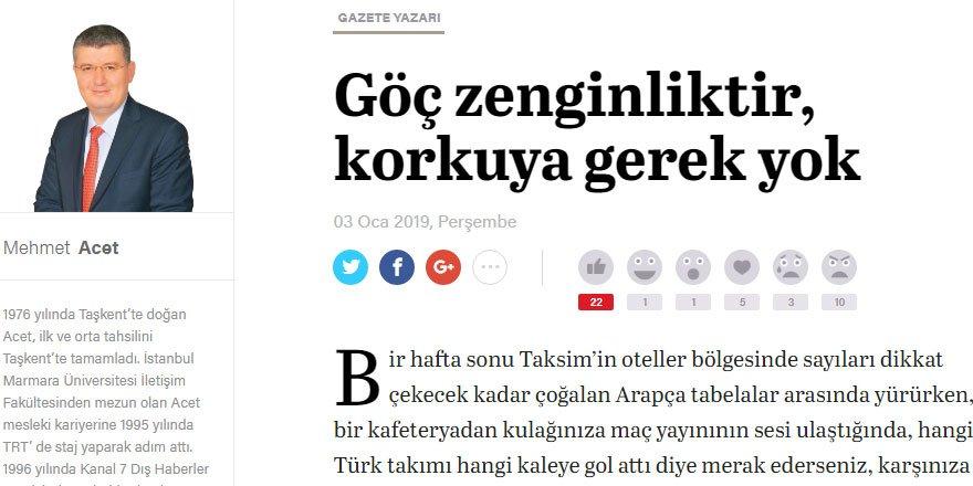 Mehmet Acet'in Bu Yazısını Hasan Öztürk de Okumalı!