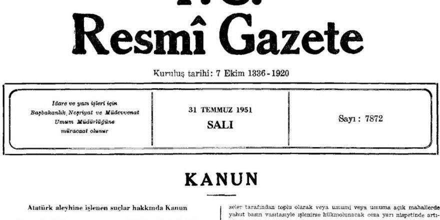 """""""Atatürkçüler Aleyhine İşlenen Suçlar Hakkında Kanun"""" da Çıkarılsın Bari!"""