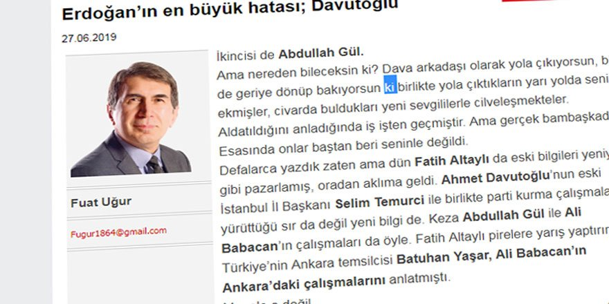 Günah Keçisi Avına Fuat Uğur da Davutoğlu'na İftira Atarak Katılmış!