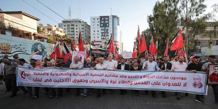 Gazze'de Siyonist İsrail Zindanlarındaki Filistinli Tutuklulara Destek Gösterisi