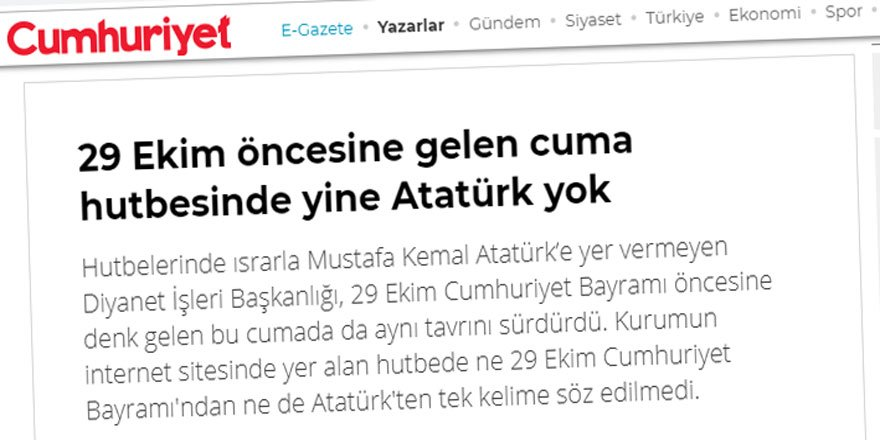 Cumhuriyet'in Derdi Derin: Cuma Namazına Gitmiyorlar Ama Hutbe Siparişinden de Vazgeçmiyorlar!