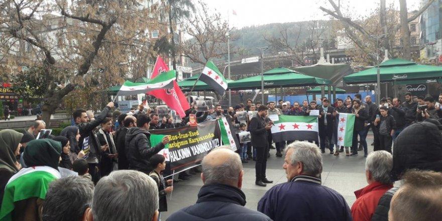 Rus, İran ve Esed Saldırıları Trabzon'da Protesto Edildi