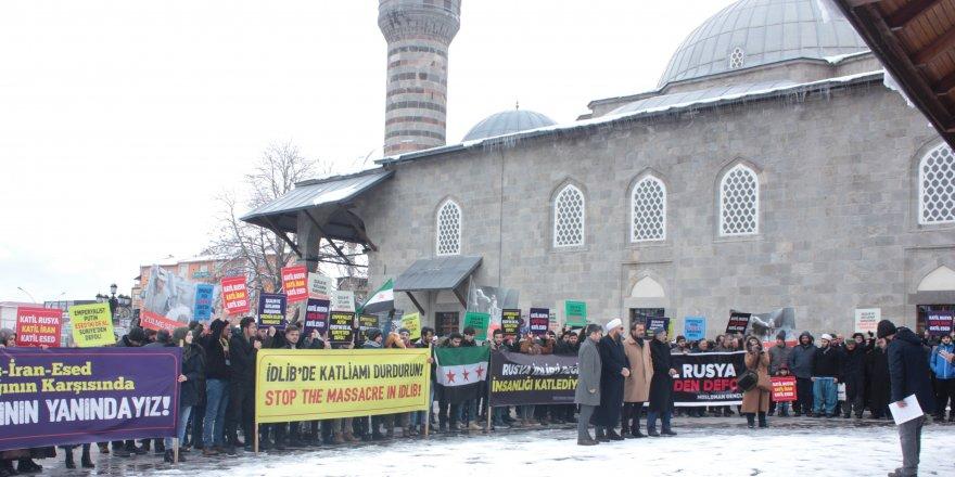 İdlib'eYönelik Saldırılar Erzurum'da Protesto Edildi