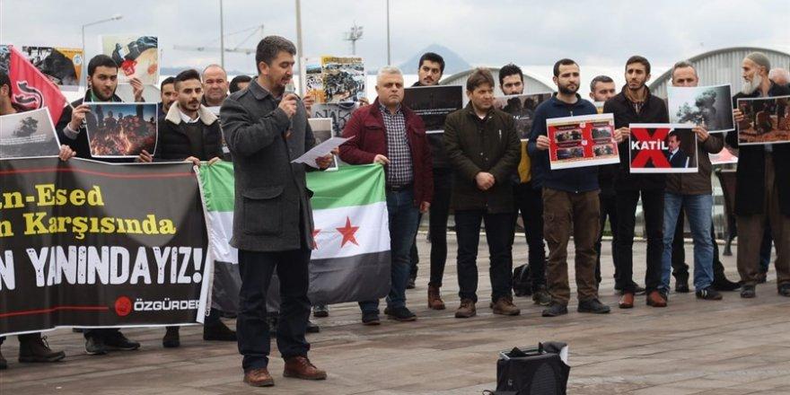 Giresun'da Rusya, İran ve Esed'in Katliamları Protesto Edildi