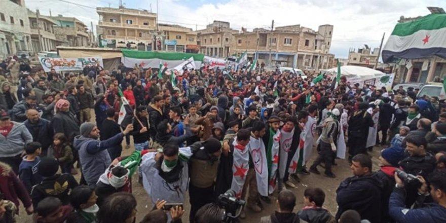 İdlib-Binniş'te Esed ve Rusya Karşıtı Eylem Düzenlendi