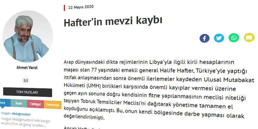 Libya'da Sadece Darbeci Hafter Değil, Onu Besleyen Güçler de Hezimete Uğradı!
