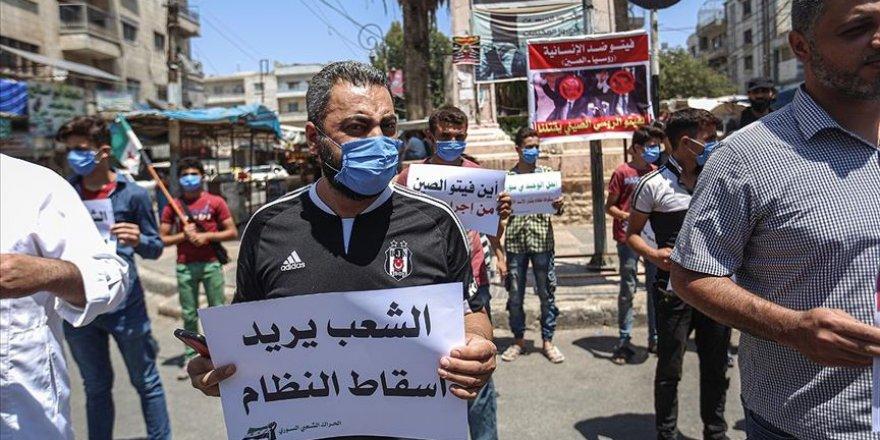 İdlibliler Rusya'nın Yardımları Engellemesini Protesto Etti