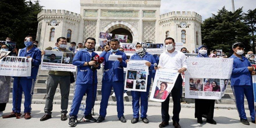 İstanbul'da yaşayan Uygur Türkleri Çin zulmünü protesto etti