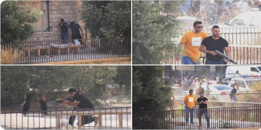 """Beyrut'ta halka ateş açan siviller ve """"terörist hizbullah"""" sloganları"""