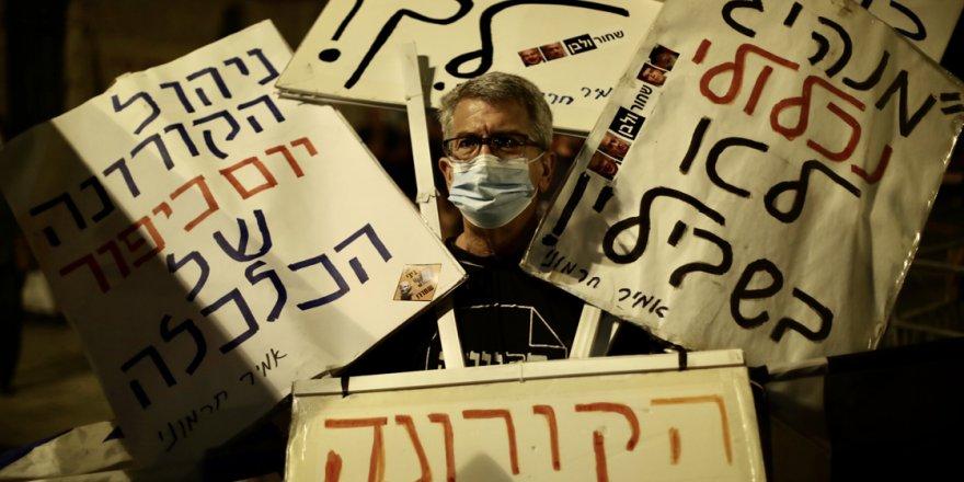 Karantinaya rağmen Netanyahu karşıtı gösteriye binlerce kişi katıldı
