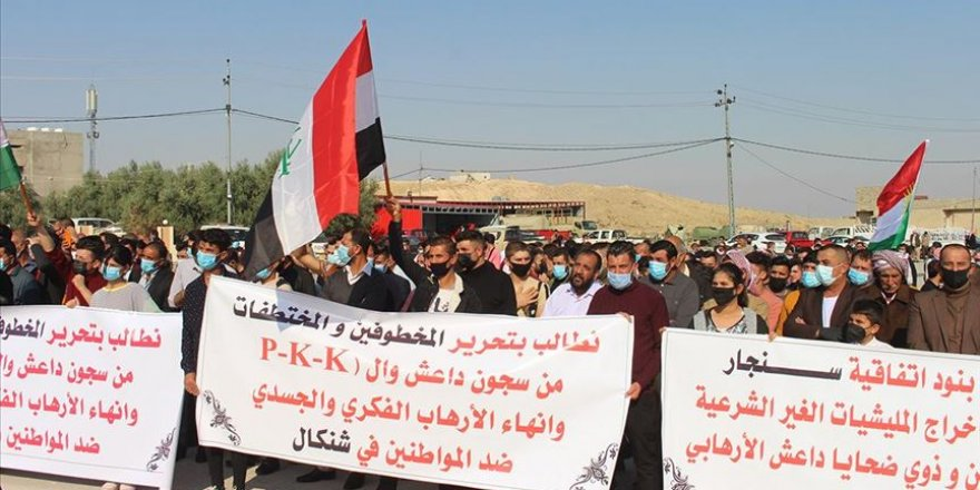 Ezidiler PKK'nın Şengal/Sincar'daki varlığına karşı gösteri düzenledi
