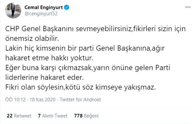 Kılıçdaroğlu'nu tehdit eden Alaattin Çakıcı'yı eleştiren tweet'ini kaldıran Cemal Enginyurt'tan açıklama