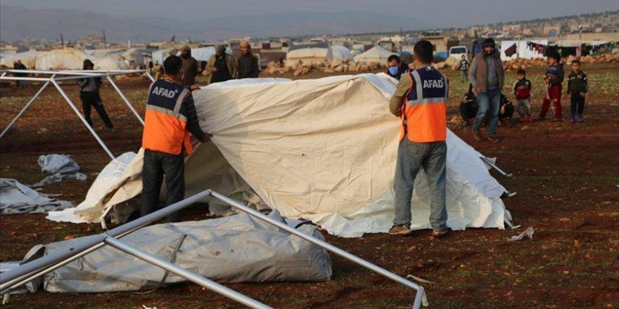 AFAD'dan İdlib'deki sel felaketi mağdurlarına yardım eli