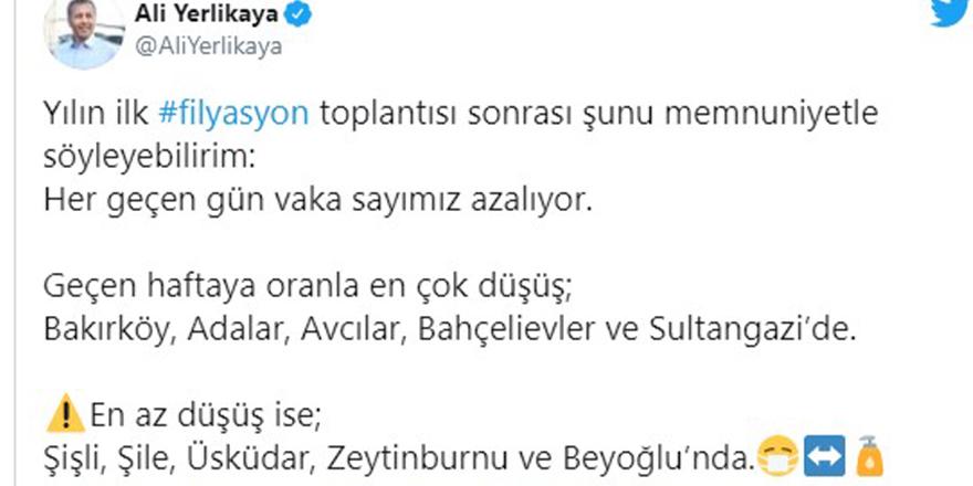 İstanbul Valisi Yerlikaya, Kovid-19 vakalarının en çok düştüğü ilçeleri açıkladı