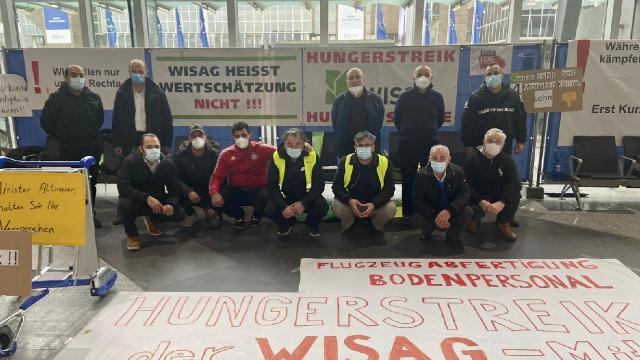 Frankfurt Havalimanı'nda işçiler açlık grevine başladı