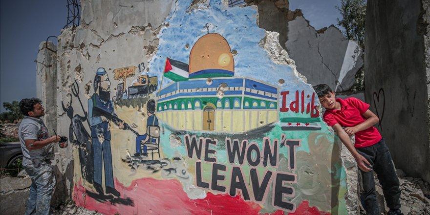 İdlibli grafiti sanatçısı: Filistin halkıyla acımız ve yaramız birdir