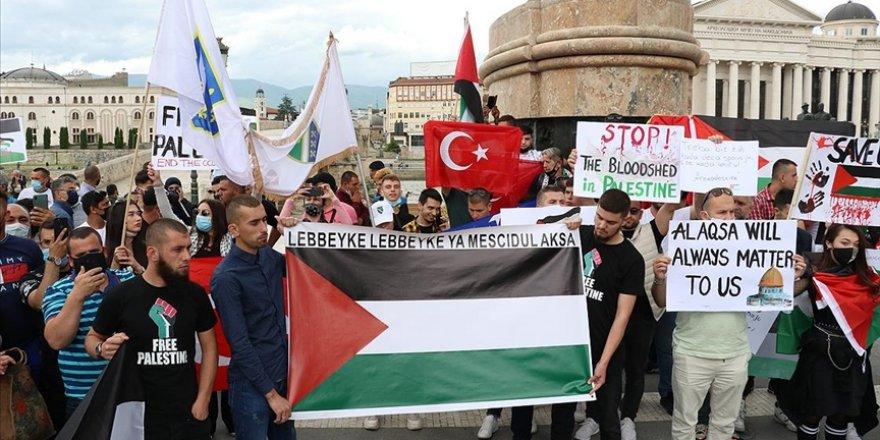 Kuzey Makedonya'da Filistin'e destek gösterisi düzenlendi