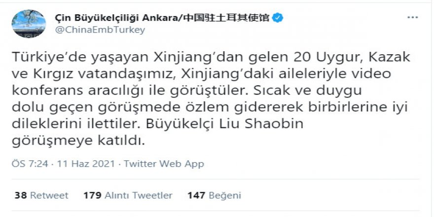 Çin'in Ankara Büyükelçiliği Müslümanların izzet-i nefsi ile dalga geçiyor!