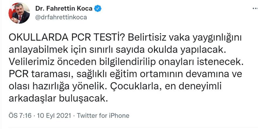 Sağlık Bakanı Koca'dan okullarda yapılacak PCR taramasıyla ilgili yeni açıklama