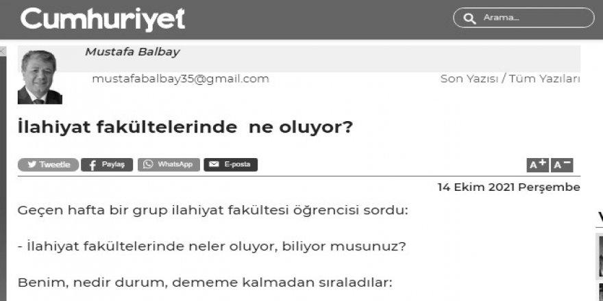Mustafa Balbay İlahiyatların derdine düşmüş!