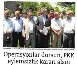 Operasyonlar Dursun, PKK Eylemsizlik Kararı Alsın