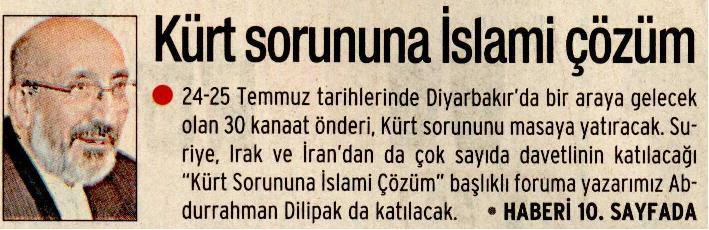 Kürt Sorununa İslami Çözüm