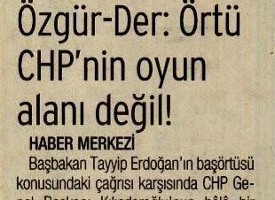 Örtü CHP'nin Oyun Alanı Değil