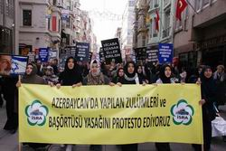 Diktatör Aliyeve İstanbulda Protesto