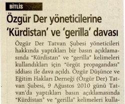 Özgür-Der Yöneticilerine Kürdistan ve Gerilla Davası