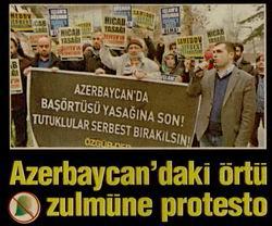 Azerbaycandaki Örtü Zulmüne Protesto