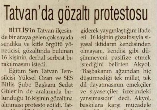 Tatvanda Gözaltı Protestosu