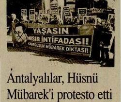 Antalyalılar, Hüsnü Mübareki Protesto Etti