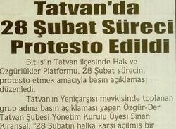 Tatvanda 28 Şubat Süreci Protesto Edildi
