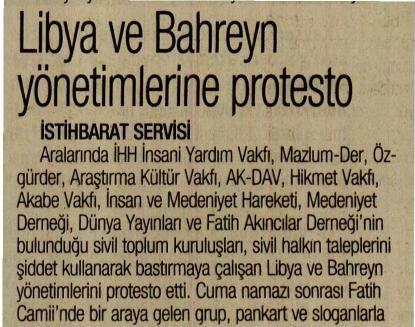 Libya ve Bahreyn Yönetimlerine Protesto
