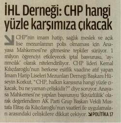 İHL Derneği: CHP Hangi Yüzle Karşımıza Çıkacak