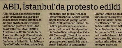 ABD, İstanbulda Protesto Edildi
